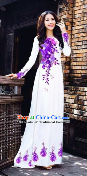 Traditional Top Grade Asian Vietnamese Costumes Dance Dress, Vietnam National Women Ao Dai Dress Printing Purple Flowers White Cheongsam Clothing