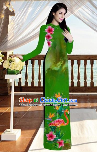 Traditional Top Grade Asian Vietnamese Costumes, Vietnam National Ao Dai Dress Printing Flowers Crane Green Qipao for Women
