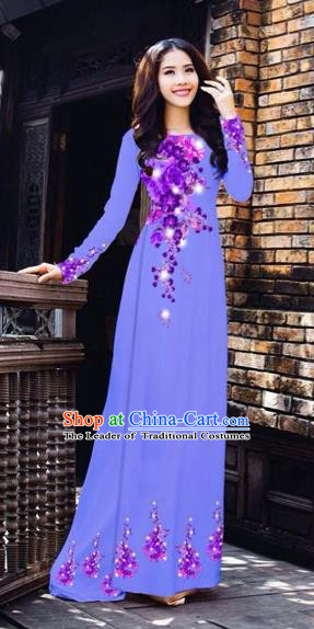 Traditional Top Grade Asian Vietnamese Costumes Dance Dress, Vietnam National Women Ao Dai Dress Printing Purple Flowers Blue Cheongsam Clothing