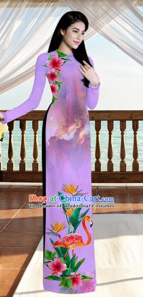 Traditional Top Grade Asian Vietnamese Costumes, Vietnam National Ao Dai Dress Printing Flowers Crane Light Purple Qipao for Women