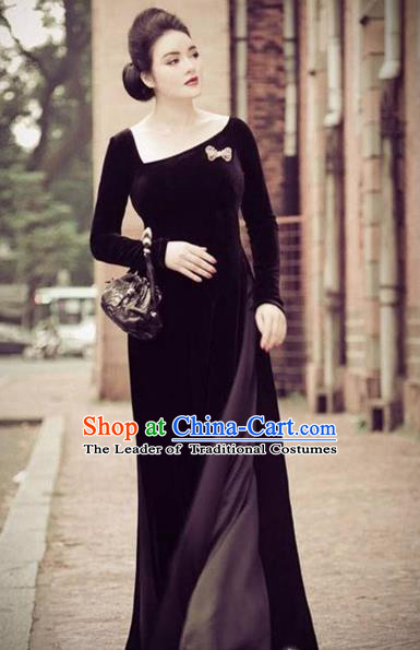 Traditional Top Grade Asian Vietnamese Costumes Full Dress, Vietnam National Ao Dai Dress Pleuche Black Qipao for Women
