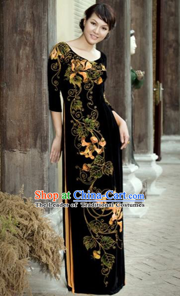 Traditional Top Grade Asian Vietnamese Costumes Embroidery Full Dress, Vietnam National Ao Dai Dress Black Qipao for Women