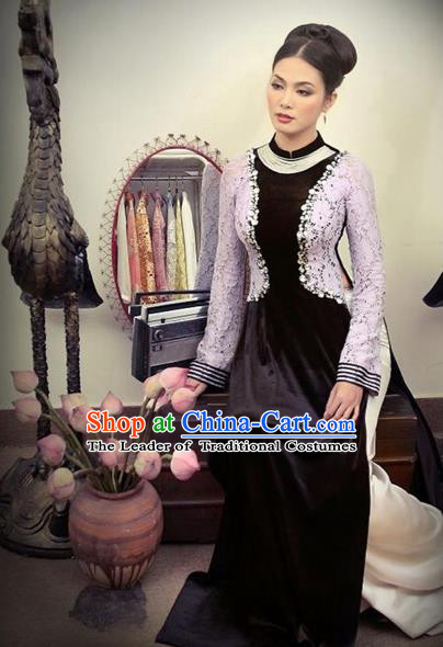 Traditional Top Grade Asian Vietnamese Costumes Handmade Full Dress, Vietnam National Ao Dai Dress Lace Pleuche Qipao for Women