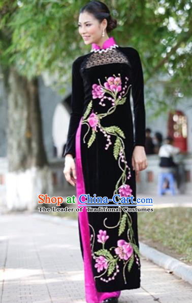 Traditional Top Grade Asian Vietnamese Costumes Handmade Embroidery Full Dress, Vietnam National Ao Dai Dress Qipao for Women