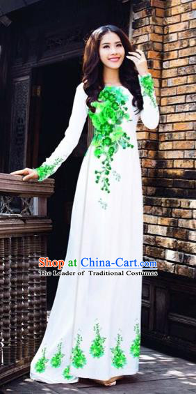 Traditional Top Grade Asian Vietnamese Costumes Dance Dress, Vietnam National Women Ao Dai Dress Printing Green Flowers White Cheongsam Clothing