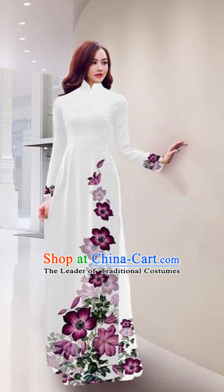 Traditional Top Grade Asian Vietnamese Costumes Handmade Printing White Full Dress, Vietnam National Ao Dai Dress Qipao for Women