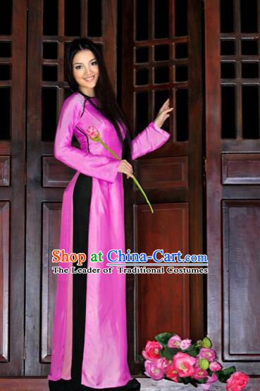 Traditional Top Grade Asian Vietnamese Costumes Handmade Pink Full Dress, Vietnam National Ao Dai Dress Qipao for Women