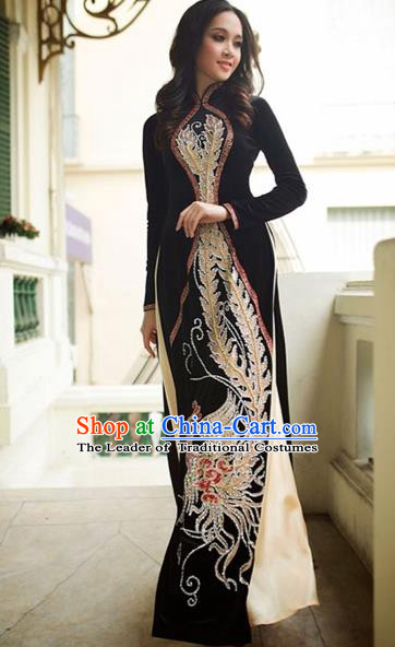 Traditional Top Grade Asian Vietnamese Costumes Handmade Painting Pleuche Full Dress, Vietnam National Ao Dai Dress Qipao for Women