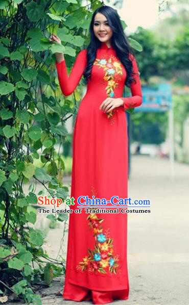 Traditional Top Grade Asian Vietnamese Costumes Handmade Embroidery Red Pleuche Full Dress, Vietnam National Ao Dai Dress Qipao for Women