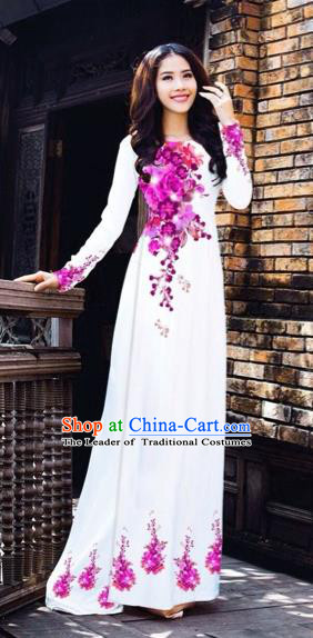 Traditional Top Grade Asian Vietnamese Costumes Dance Dress, Vietnam National Women Ao Dai Dress Printing Pink Flowers White Cheongsam Clothing
