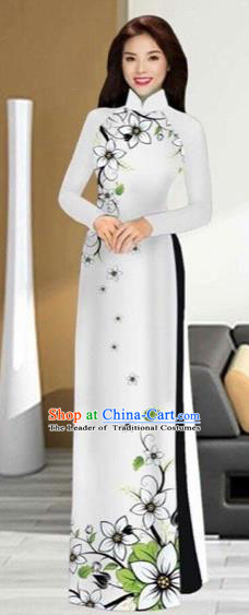 Traditional Top Grade Asian Vietnamese Costumes Handmade White Full Dress and Pants, Vietnam National Ao Dai Dress Etiquette Qipao for Women