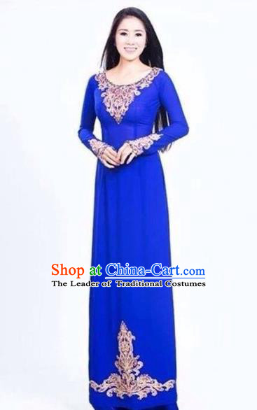 Traditional Top Grade Asian Vietnamese Costumes Classical Handmade Royalblue Full Dress and Pants, Vietnam National Ao Dai Dress Etiquette Qipao for Women