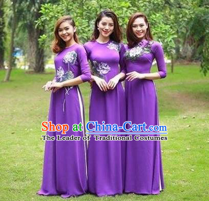 Traditional Top Grade Asian Vietnamese Costumes Classical Handmade Purple Full Dress and Loose Pants, Vietnam National Ao Dai Dress Etiquette Qipao for Women
