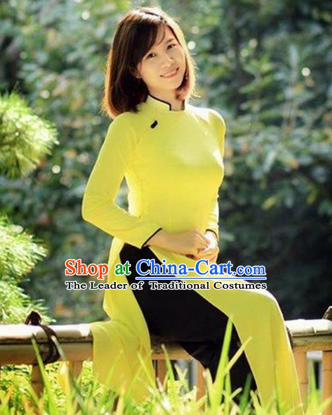 Traditional Top Grade Asian Vietnamese Costumes Classical Handmade Yellow Full Dress, Vietnam National Ao Dai Dress Etiquette Qipao for Women