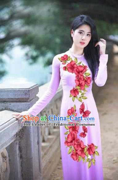 Traditional Top Grade Asian Vietnamese Costumes Classical Printing Red Flowers Full Dress, Vietnam National Ao Dai Dress Etiquette Qipao for Women