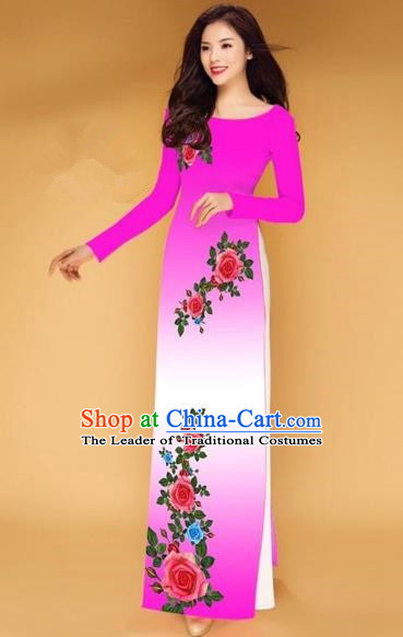 Traditional Top Grade Asian Vietnamese Costumes Classical Printing Rose Flowers Full Dress, Vietnam National Ao Dai Dress Pink Etiquette Qipao for Women