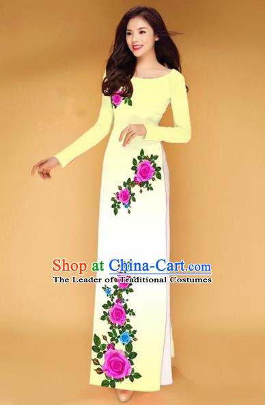 Traditional Top Grade Asian Vietnamese Costumes Classical Printing Rose Flowers Full Dress, Vietnam National Ao Dai Dress Yellow Etiquette Qipao for Women