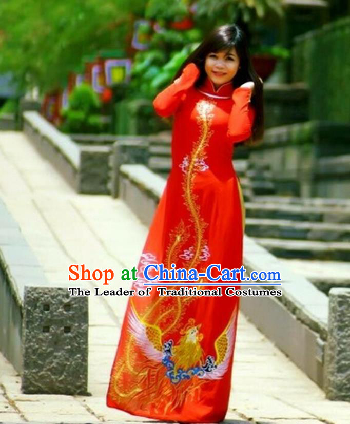 Traditional Top Grade Asian Vietnamese Costumes Classical Printing Phoenix Pattern Full Dress, Vietnam National Ao Dai Dress Wedding Etiquette Qipao for Women
