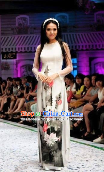 Traditional Top Grade Asian Vietnamese Costumes Classical Ink Painting Lotus Full Dress, Vietnam National Ao Dai Dress Etiquette Qipao for Women