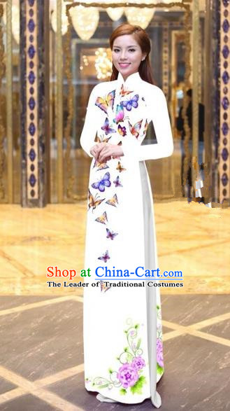 Traditional Top Grade Asian Vietnamese Costumes Classical Printing Butterfly Pattern Full Dress, Vietnam National Ao Dai Dress White Etiquette Qipao for Women