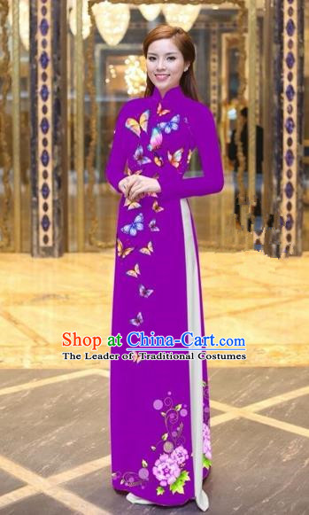 Traditional Top Grade Asian Vietnamese Costumes Classical Printing Butterfly Pattern Full Dress, Vietnam National Ao Dai Dress Purple Etiquette Qipao for Women