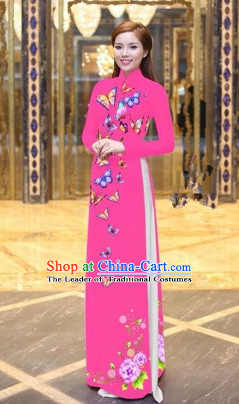 Traditional Top Grade Asian Vietnamese Costumes Classical Printing Butterfly Pattern Full Dress, Vietnam National Ao Dai Dress Pink Etiquette Qipao for Women