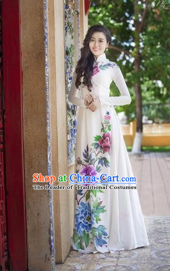 Traditional Top Grade Asian Vietnamese Costumes Classical Printing Peony Pattern Full Dress, Vietnam National Ao Dai Dress White Etiquette Qipao for Women