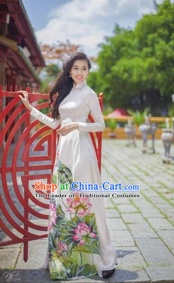 Traditional Top Grade Asian Vietnamese Costumes Classical Printing Lotus Pattern Full Dress, Vietnam National Ao Dai Dress White Etiquette Qipao for Women