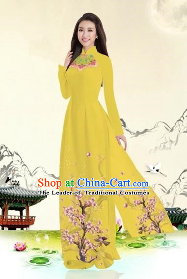 Traditional Top Grade Asian Vietnamese Costumes Classical Plum Blossom Pattern Full Dress, Vietnam National Ao Dai Dress Yellow Etiquette Qipao for Women