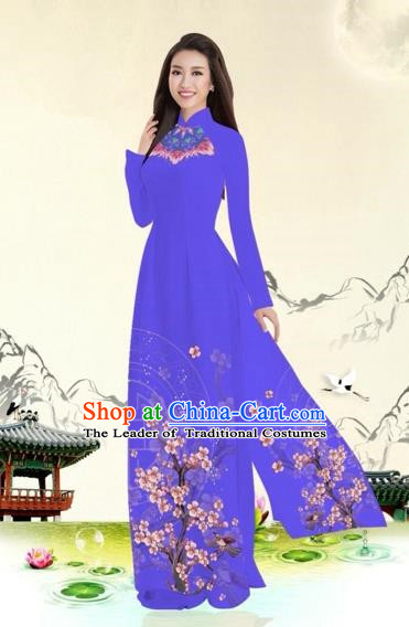 Traditional Top Grade Asian Vietnamese Costumes Classical Plum Blossom Pattern Full Dress, Vietnam National Ao Dai Dress Purple Etiquette Qipao for Women