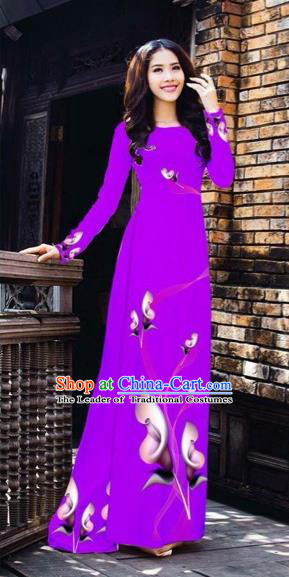 Traditional Top Grade Asian Vietnamese Costumes Classical Printing Flowers Pattern Full Dress, Vietnam National Ao Dai Dress Purple Etiquette Qipao for Women
