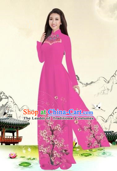 Traditional Top Grade Asian Vietnamese Costumes Classical Plum Blossom Pattern Full Dress, Vietnam National Ao Dai Dress Pink Etiquette Qipao for Women
