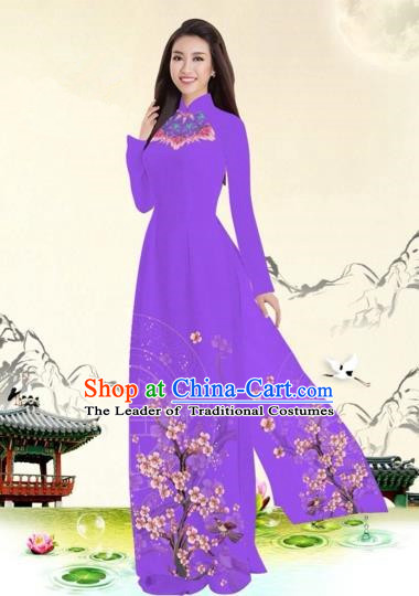 Traditional Top Grade Asian Vietnamese Costumes Classical Plum Blossom Pattern Full Dress, Vietnam National Ao Dai Dress Modena Etiquette Qipao for Women