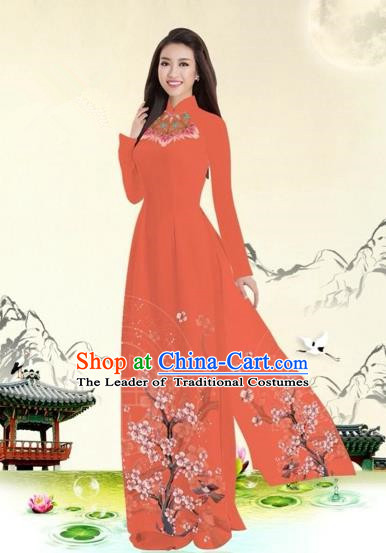 Traditional Top Grade Asian Vietnamese Costumes Classical Plum Blossom Pattern Full Dress, Vietnam National Ao Dai Dress Orange Etiquette Qipao for Women