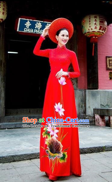 Traditional Top Grade Asian Vietnamese Costumes Classical Wedding Red Full Dress, Vietnam National Ao Dai Dress Bride Qipao for Women