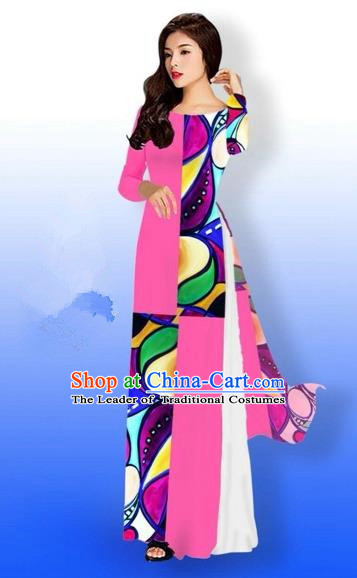 Traditional Top Grade Asian Vietnamese Costumes Classical Printing Full Dress, Vietnam National Ao Dai Dress Bride Pink Qipao for Women