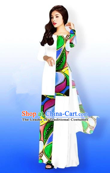 Traditional Top Grade Asian Vietnamese Costumes Classical Green Printing Full Dress, Vietnam National Ao Dai Dress Bride White Qipao for Women