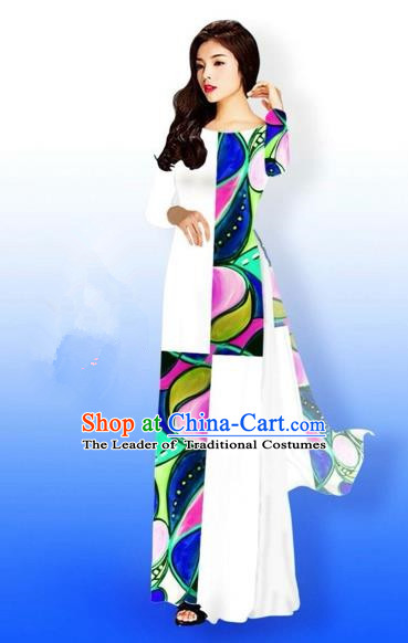 Traditional Top Grade Asian Vietnamese Costumes Classical Printing Full Dress, Vietnam National Ao Dai Dress Bride Qipao for Women