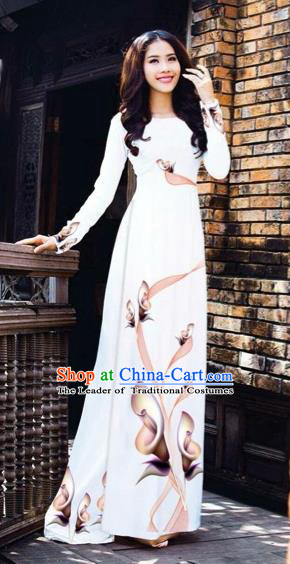 Traditional Top Grade Asian Vietnamese Costumes Classical Printing Flowers Pattern Full Dress, Vietnam National Ao Dai Dress White Etiquette Qipao for Women