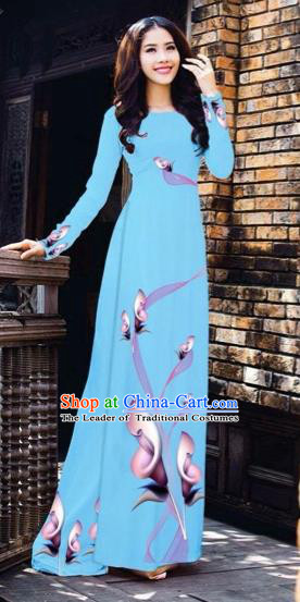 Traditional Top Grade Asian Vietnamese Costumes Classical Printing Flowers Pattern Full Dress, Vietnam National Ao Dai Dress Sky Blue Etiquette Qipao for Women