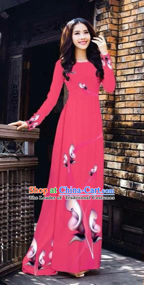 Traditional Top Grade Asian Vietnamese Costumes Classical Printing Flowers Pattern Full Dress, Vietnam National Ao Dai Dress Rosy Etiquette Qipao for Women
