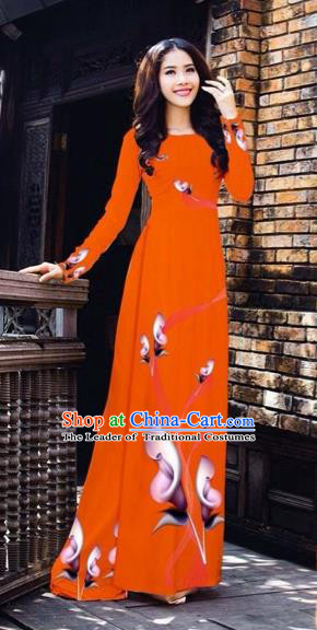 Traditional Top Grade Asian Vietnamese Costumes Classical Printing Flowers Pattern Full Dress, Vietnam National Ao Dai Dress Orange Etiquette Qipao for Women