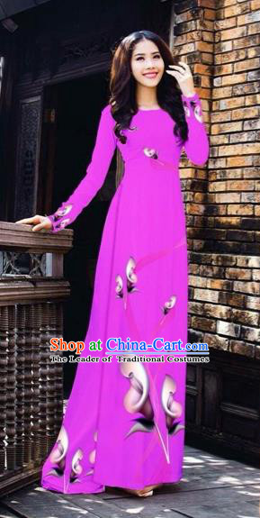 Traditional Top Grade Asian Vietnamese Costumes Classical Printing Flowers Pattern Full Dress, Vietnam National Ao Dai Dress Violet Etiquette Qipao for Women