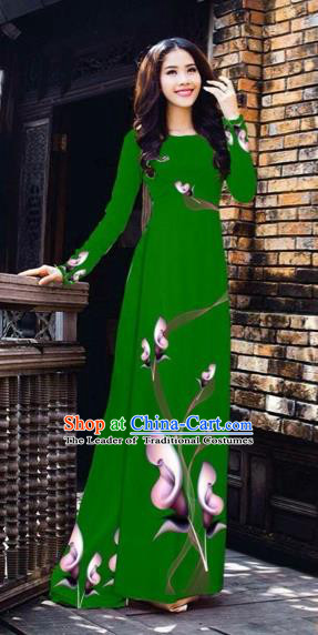 Traditional Top Grade Asian Vietnamese Costumes Classical Printing Flowers Pattern Full Dress, Vietnam National Ao Dai Dress Deep Green Etiquette Qipao for Women