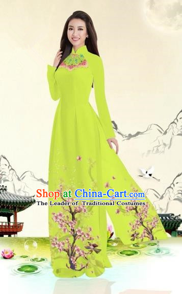 Traditional Top Grade Asian Vietnamese Costumes Classical Plum Blossom Pattern Full Dress, Vietnam National Ao Dai Dress Grass Greet Etiquette Qipao for Women