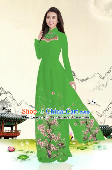 Traditional Top Grade Asian Vietnamese Costumes Classical Plum Blossom Pattern Full Dress, Vietnam National Ao Dai Dress Green Etiquette Qipao for Women