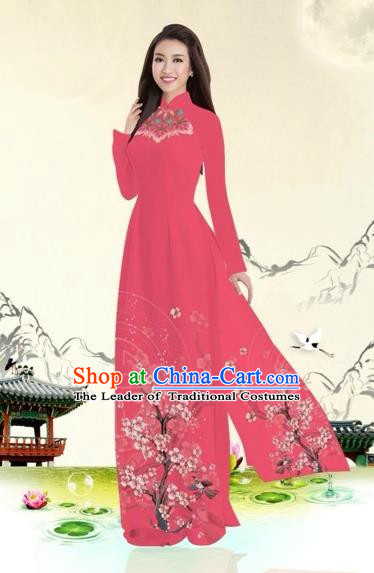 Traditional Top Grade Asian Vietnamese Costumes Classical Plum Blossom Pattern Full Dress, Vietnam National Ao Dai Dress Red Etiquette Qipao for Women