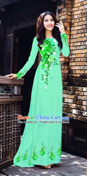 Traditional Top Grade Asian Vietnamese Costumes Dance Dress, Vietnam National Women Ao Dai Dress Printing Flowers Green Cheongsam Clothing