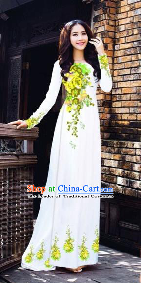 Traditional Top Grade Asian Vietnamese Costumes Dance Dress, Vietnam National Women Ao Dai Dress Printing Flowers Cheongsam Clothing