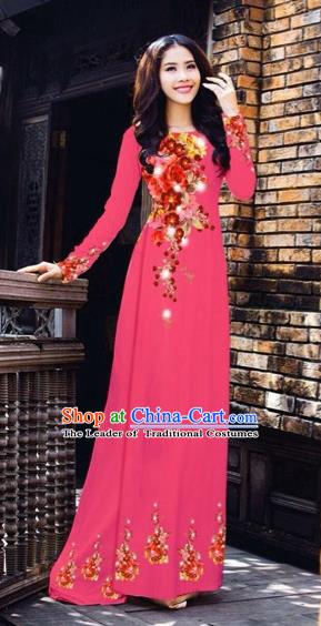 Traditional Top Grade Asian Vietnamese Costumes Dance Dress, Vietnam National Women Ao Dai Dress Printing Flowers Rose Cheongsam Clothing